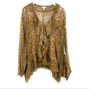 J Jill Silk Blouse 4X Boho Brown Floral Sheer Top